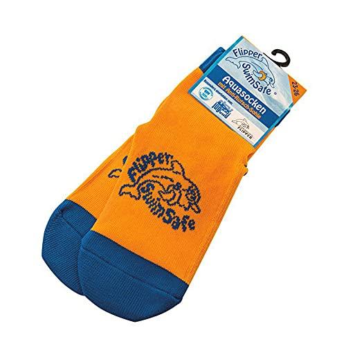 Flipper Swimsafe 1052 - Aquasocken mit Anti-Rutsch-Sohle in Blau-Orange, für Kinder und Kleinkinder, Größe 23 -26, ideal für den unbeschwerten Schwimmbadbesuch
