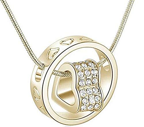 Ketting - ring - vrouw - uiteinde - klein hartje - hanger - goudkleur - kort - cadeau-idee - verjaardag - kerstmis