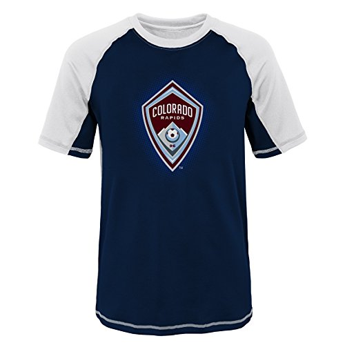 MLS Colorado Rapids Youth Boys 8-20 Short Sleeve Rash Guard, Medium (10-12), White