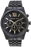 Michael Kors Men's Lexington Stainless Steel Analog-Quartz Watch with Stainless-Steel Strap, Black, 22 (Model: MK8603)