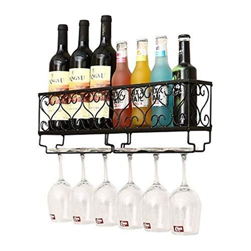 Estante para vinos de Metal de Montaje en Pared con Soporte para Vasos, Estante para Almacenamiento de vinos y licores, diseños de estantes para Copas de Vino Hechos a Mano, Colecciones desgastadas y