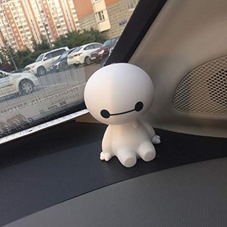 SPFOZ Car Ornament Carino Scuotere la Testa Baymax Bambola Robot Decorazioni Automobili Interni Cruscotto Bobble Head Giocattoli Accessori Regalo Color : White Bianco Nome Colore