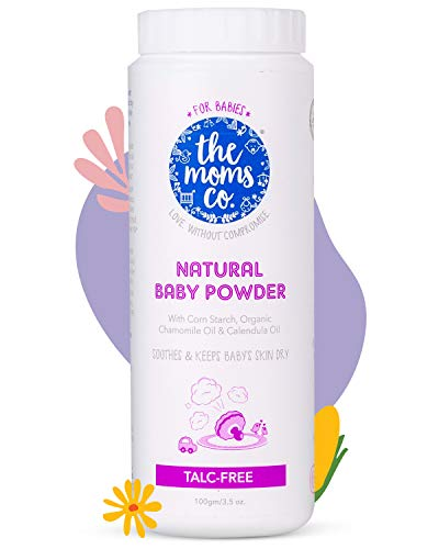 The Moms Co. Talc-Free Natural Baby Powder with Corn Starch   100% Natural   Australia-Certified Toxin-Free   with Chamomile Oil, Calendula Oil and Organic Jojoba Oil - 100g