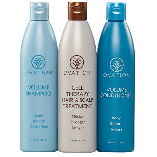 Ovation Volume Cell Therapy System - Get Stronger, Fuller & Healthier Looking Hair with Natural Ingredients. Includes Volume Therapy Treatment Shampoo and Volumizing Conditioner - Made in the USA
