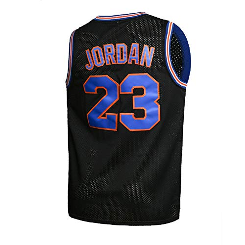 Youth Basketball Jersey Moive #23 Space Jam Shirts for Kids Black Size L