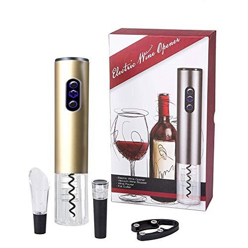 Korkenzieher, Bi-Komfort Elektrischer Weinöffner, Automatischer Flaschenöffner, Weinflaschenöffner Luxus Geschenk Set enthält Folienschneider, Weinausgießer und Vakuum Weinverschluss
