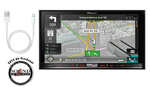 """Pioneer AVIC-7200NEX In Dash Double Din 7"""" DVD CD Navigation Receiver and a Lightening to USB Adapter with a FREE SOTS Air Freshener"""
