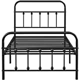 Topeakmart Twin Size Victorian Style Metal Bed Frame with Headboard/Mattress Foundation/No Box Spring Needed/Under Bed Storage/Strong Slat Support Black