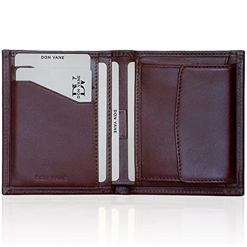 DON VANE Mini Geldbörse Herren aus Leder, Kleines Portemonnaie + Geschenk Box, Mini Wallet mit Münzfach, Geldtasche Geldbeutel Männer klein, Portmonee Brieftasche flach RFID Schutz Tabak
