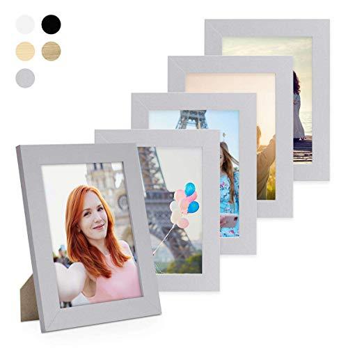 Photolini Juego de 5 Marcos 15x20 cm Basic Collection Modernos, Plateados de MDF, Incluyendo Accesorios/Collage de Fotos/galería de imágenes
