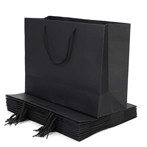 10 Stück Geschenktüte Papiertasche Kraftpapier Tüte Papiertüte Wiederverwendbare Tragetasche mit Griff Geschenktasche für Einkaufen Geburtstag Hochzeit Weihnachtsfeier Babyparty Brautdusche (Schwarz)