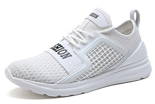 VITIKE Ashion Zapatos de Entrenamiento para Hombre Malla Respirable Zapatillas Aptitud Talla Extra Ligero Deportes Zapatos para Correr(EU40-Blanco)