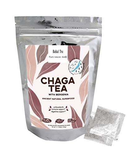 Chaga Tea with Bergenia - 100% Organic Chaga Mushrooms Tea Bags - Detox Wellness Tea - Wild from Siberia - Antioxidant Herbal Tea - Digestive and Immune Support - Hand-Picked by Baikal Tea