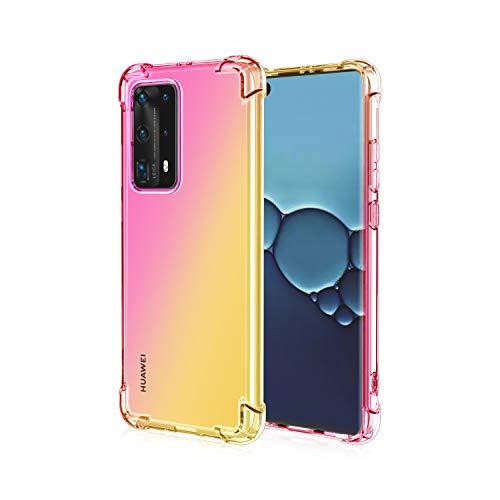 FINEONE Funda para Xiaomi Redmi Note 9T 5G, Color Degradado Transparente TPU Carcasa Ultradelgado Antimanchas Silicona Case Compatible Carga Inalámbrica Cover, Oro/Rosado