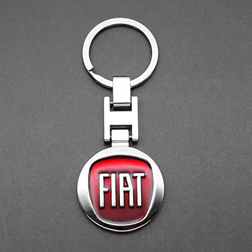KIOP 3D Metall Leder gewebtes Auto Styling Emblem Schlüsselbund Schlüsselring Ringe für FIAT Panda Bravo Punto Linea Croma 500 595 FIAT Zubehör