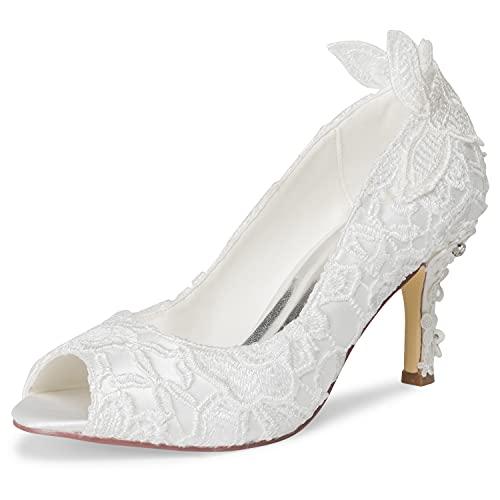 JIAJIA A31B64 Mujeres Zapatos de Novia Peep Toe Los 8cm Estilete Unidad...