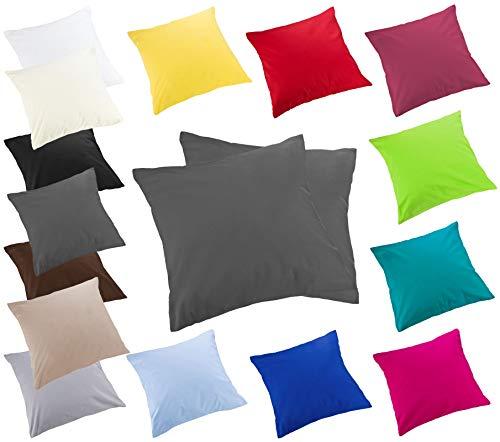 Moon Luxury Linon 2er Pack Kissenbezug 40x40 anthrazit mit Reißverschluss, Kissenhülle aus 100% Baumwolle