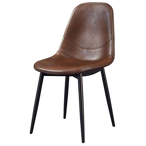 PU Cushion Dining Chair, Metal Legs Table Chair, Ergonomic Backrest Sofa Chair, 42×55×78 cm(Color:Brown)