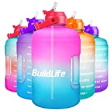 BuildLife 1 Gallon Water Bottle -Leakproof Straw Lid BPA Free Water Jug with Time Marker to Ensure You Drink Enough Water Throughout The Day (Pink/Blue Gradient, 1 Gallon)