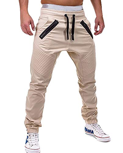 ASKSA Jogginghose Herren Jogginganzug Jogger Männer Sporthose Fitness Hose Slim Fit Freizeithose Streetwear Hosen Einfarbig (Beige, M)