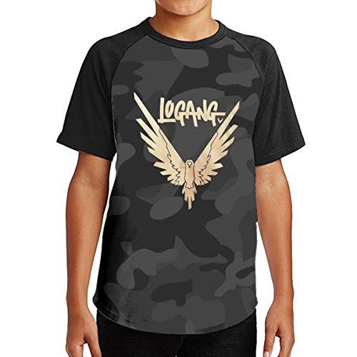 Maverick Bird Gold Logan Paul Teenagers Cotton Raglan Short Sleeve Tee Shirt