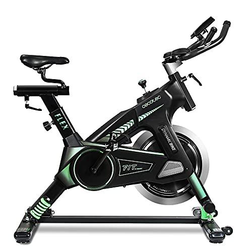 Cecotec Bicicleta Spinning Estática con Volante de Inercia de 25 Kg y Sistema de Amortiguación UltraFlex 25. Silenciosa, Manillar y Sillín Regulable, Pantalla LCD, Peso máximo 120 Kg