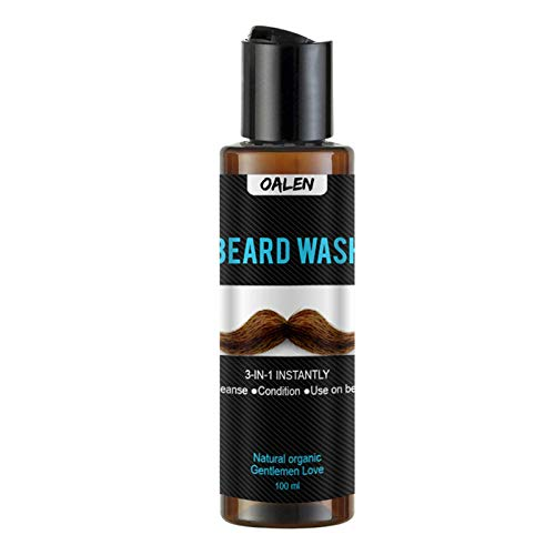 Beard Wash&Beard Shampoo w/Argan & Jojoba Oils Leaves Beard Hair Clean Soft&Conditions 3-in-1 Invigorate Your Beard Travel Size(3.4oz)