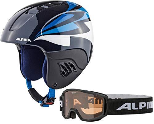 ALPINA Carat Set Skihelm mit Skibrille (Größe: 51-55 cm, 81 Night/Blue Gloss inkl. Piney, schwarzer Rahmen)