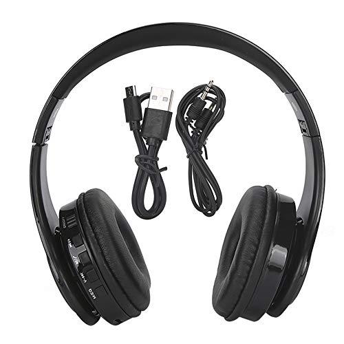 Yctze Auriculares para PC con Bluetooth en la Cabeza Auricular inalámbrico Bluetooth 5.0 Cable de Audio de 3,5 mm Cómodo diseño para Colocar sobre Las Orejas(Black)