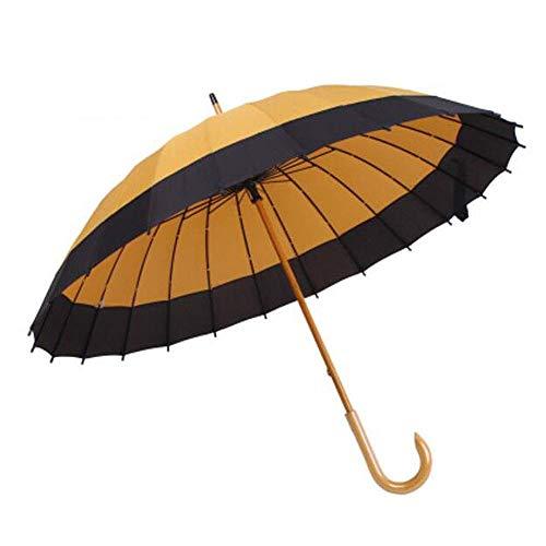 AIWKR Ombrello a Bastone, Apertura Manuale Parafulmine Manico in Legno Grande Antivento Ombrello Antipioggia 24 Ossa per Uomo E Donna