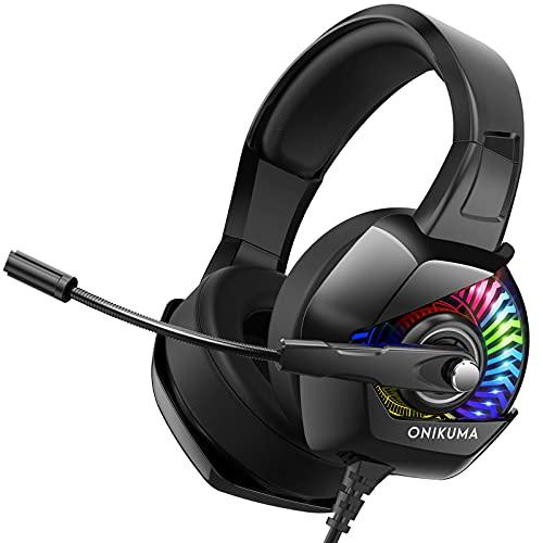 ONIKUMA Cuffie Gaming -Cuffie PS4 con microfono, 7.1 Surround Sound e Blue Light Cuffie Xbox One, Cuffie Gaming Cuffie PC con eliminazione del rumore per PS4 PC Mac Xbox One (adattatore non incluso)