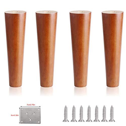 JqwerP Patas de Muebles de 4 Piezas, Patas de Banco de sofá de Madera Maciza de Goma Maciza Redonda, Patas de Mesa de Cocina de Repuesto Vertical