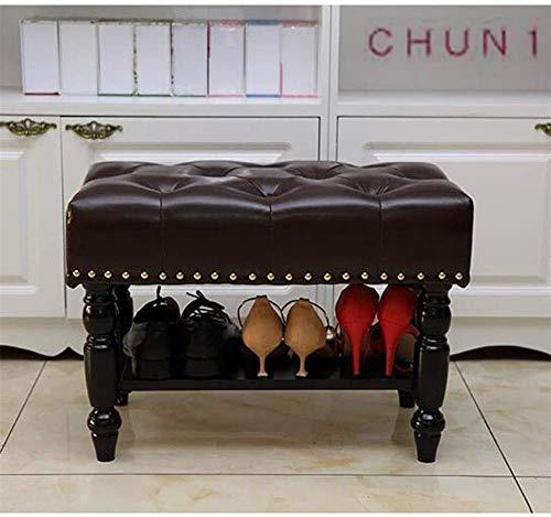 CHU N1 Shoe Rack, Solid Wood Storage Stool Hallway Bedroom Shoe Bench Storage Faux Leather Tufted Footstool 126 (Color : Mocha, Size : 60cm)
