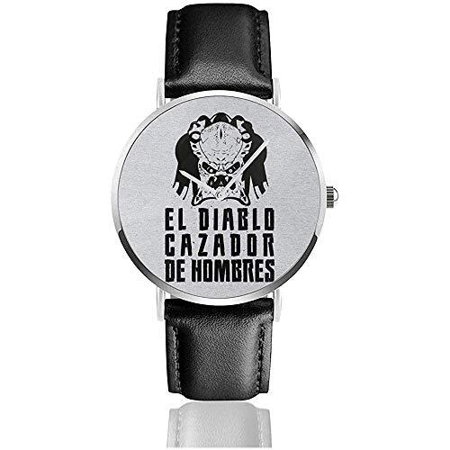 Unisex Business Casual Predator El Diablo Cazador Des Hombres Relojes Reloj de Cuero de Cuarzo