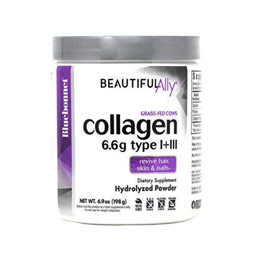 Bluebonnet Nutrition Beautiful Ally Collagen Powder, Hydrolyzed Collagen from Grass Fed Cows, Collagen Peptides Type 1 & 3, Non GMO, Gluten Free, Soy Free, Milk Free, 6.9 oz, 28 Servings, Unsweetened