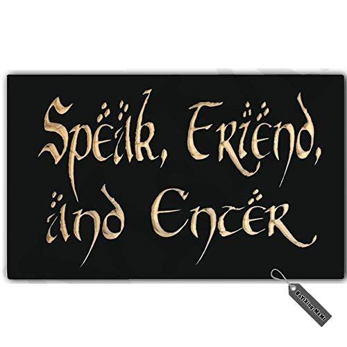 MsMr - Zerbino divertente e creativo, per interni ed esterni, con scritta in lingua inglese 'Speak Friend and Enter', in tessuto non tessuto, 59,9 x 45,7 cm