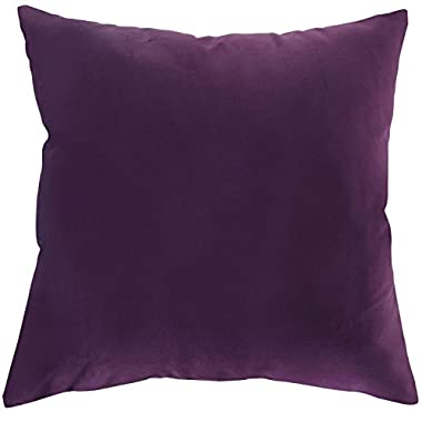 Deconovo Home Decorative Cushion Cover Luxury Velvet Euro Sham Super Soft Pillowcase with Invisible Zipper 18 x 18 Inch Violet