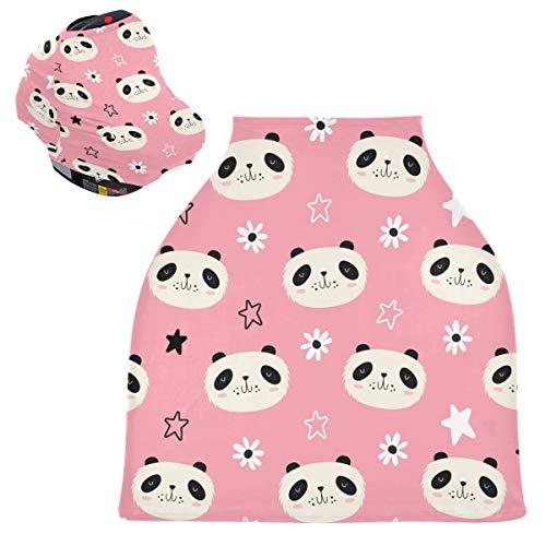 Sinestour Fundas para asiento de coche de bebé con diseño de oso panda - Funda de lactancia para asiento de coche infantil, toldo multiusos para niños y niñas