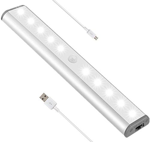 Einfache Montage Bewegungsmelder Nachtlicht 10 Led Schranklicht Kleiderschrank Schrankbeleuchtung Mit Lichtsensor Rechargeable Batterie Magnet FüR Schrank KüChe Flur Schublade (1 Pack)