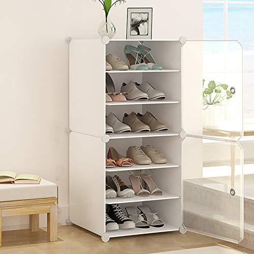 6 estantes para zapatos, organizador de almacenamiento de zapatos de plástico, armarios de almacenamiento con estantes y puerta ajustables, estante para zapatos para entrada. 44 x 32 x 96 cm