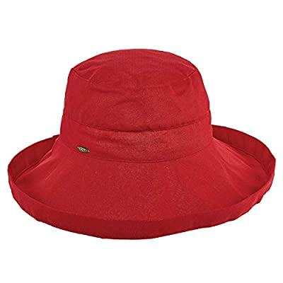 Scala Women's Cotton Hat with Inner Drawstring and Upf 50+ Rating,Red,One Size