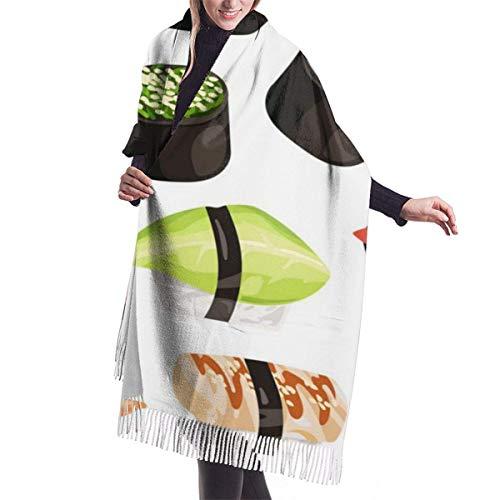 Patrón de sushi de dibujos animados moda para mujer chal largo gato bicicleta patrón bufanda de cachemira invierno cálido bufanda grande caja de regalo