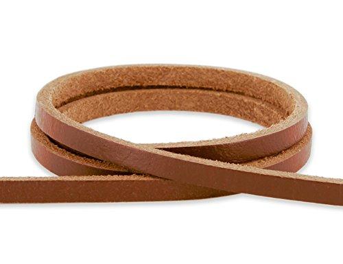 Auroris - Lederband flach 5x3 mm aus Rindsleder Länge: 3m, Farbe: Hellbraun