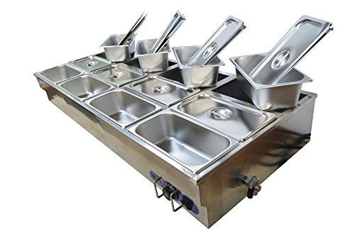 INTBUYING 12-Pan Hot Well Bath Warmer Bain-Marie Buffet Food Warmer Steamer Table 1/3Pan