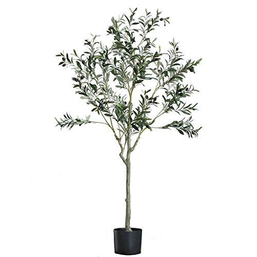 YINGZI 150cm/59 Pies Artificial Planta, 7 Tipos de Planta Artificial en Maceta con Vinilos Negros de Vinilas, Lifelike Fake Tree Office Decorativo (tamaño : 150cm Olive Tree)