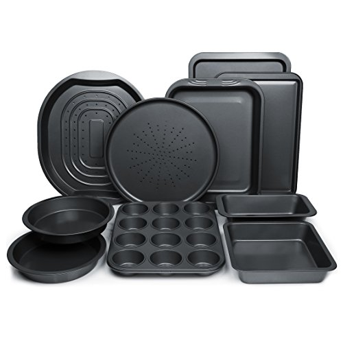 ChefLand 10-Pc. Nonstick Bakeware Set |Premium Baking Sheets, Baking Pans, Roasting Pan, Pizza Pan, Crisper Pan, Cake Pans & More | Durable Carbon Steel Baking Set | Prime Housewarming & Wedding Gift