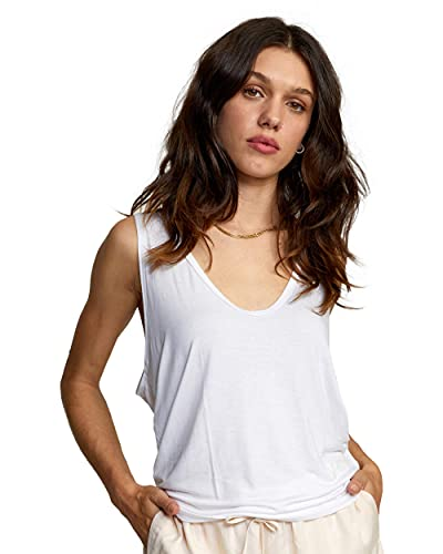 RVCA Women's Knit Top, MayDay Tank/White, Small