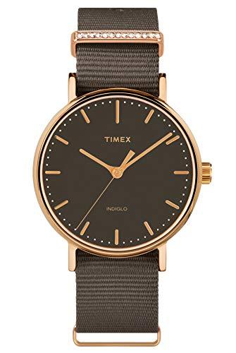 Timex Damen Analog Armbanduhr Fairfield Crystal mit Nylon Armband
