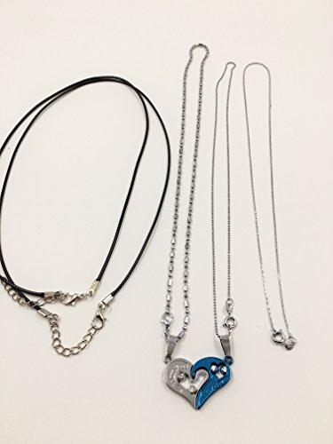 『選べる カラー ハート ペア ネックレス メンズ レディース 専用ケース & ギフト袋 付き (ブルー)』の5枚目の画像