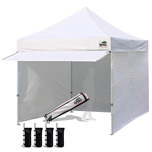 Eurmax 10 x 10 Pop up Canopy Commercial Tent Outdoor Party Canopies with 4 Removable Zippered Sidewalls and Roller Bag with 4 Canopy Sand Bags & 24 Squre Ft Extended Awning(White)